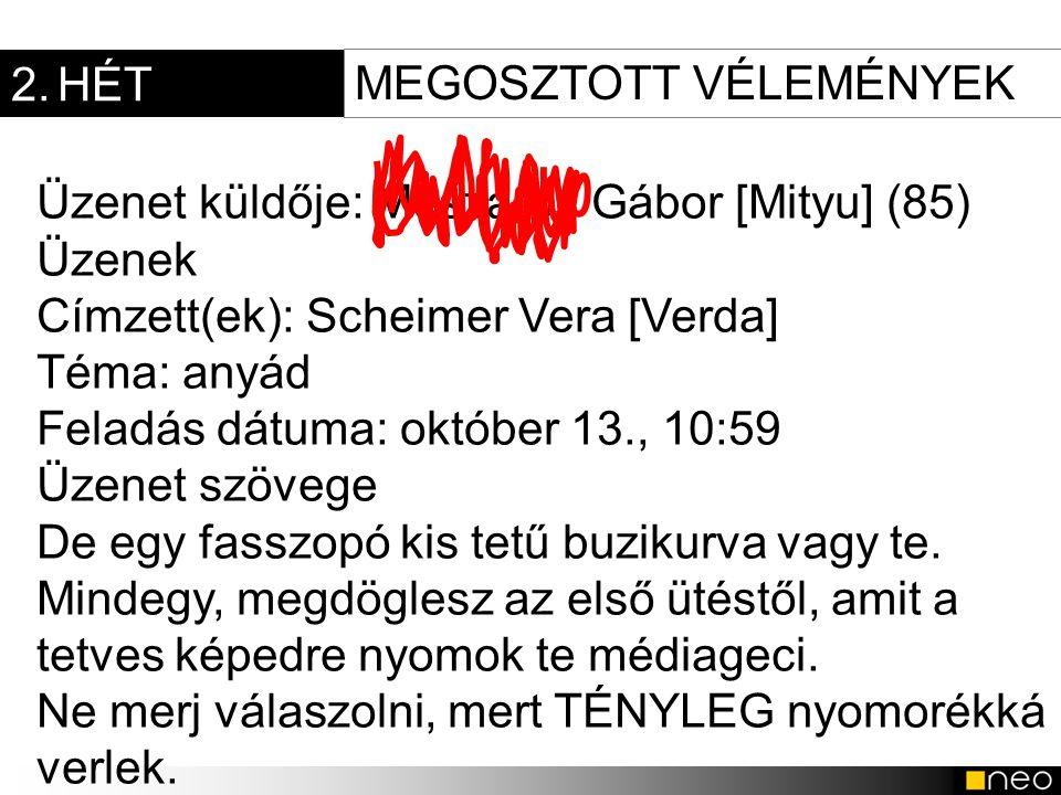 2. HÉT MEGOSZTOTT VÉLEMÉNYEK. Üzenet küldője: Mészáros Gábor [Mityu] (85) Üzenek. Címzett(ek): Scheimer Vera [Verda]